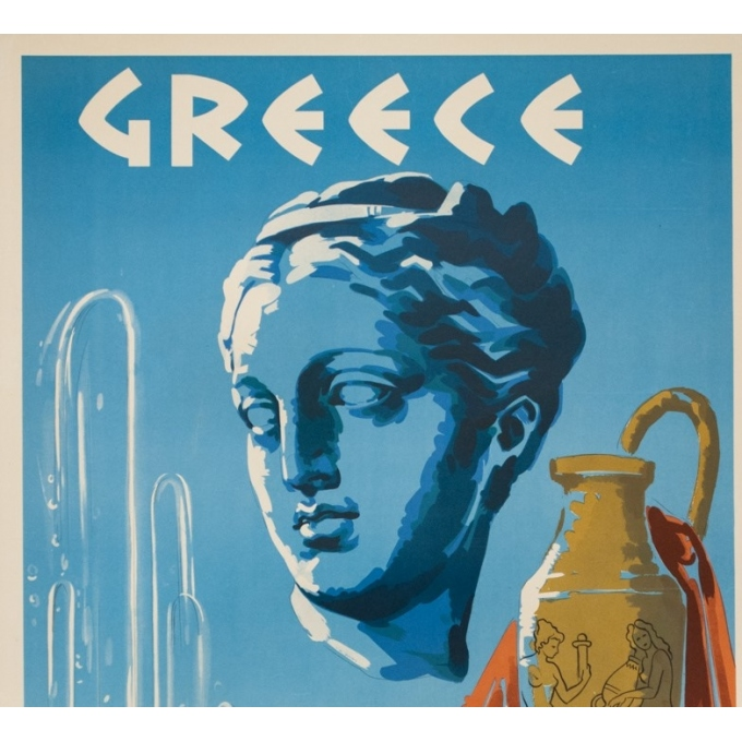 Vintage travel poster - Circa 1950 - Greece Mineral Springs - 31.7 by 23.6 inches - 2