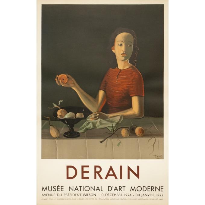 Affiche ancienne d'exposition - Derain - 1954 - Exposition Musée National D'Art Moderne- 74 par 47.5 cm