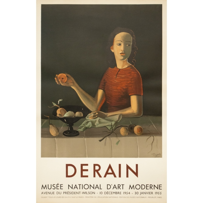 Vintage exhibition poster - Derain - 1954 - Exposition Musée National D'Art Moderne - 29.1 by 18.7 inches
