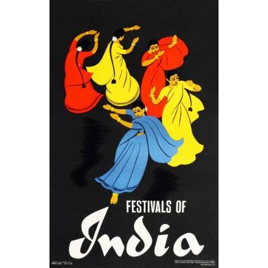 Affiche originale Festivals of India. Elbé Paris.
