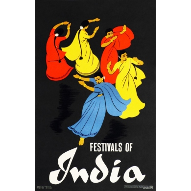 Original poster Festivals of India. Elbé Paris.