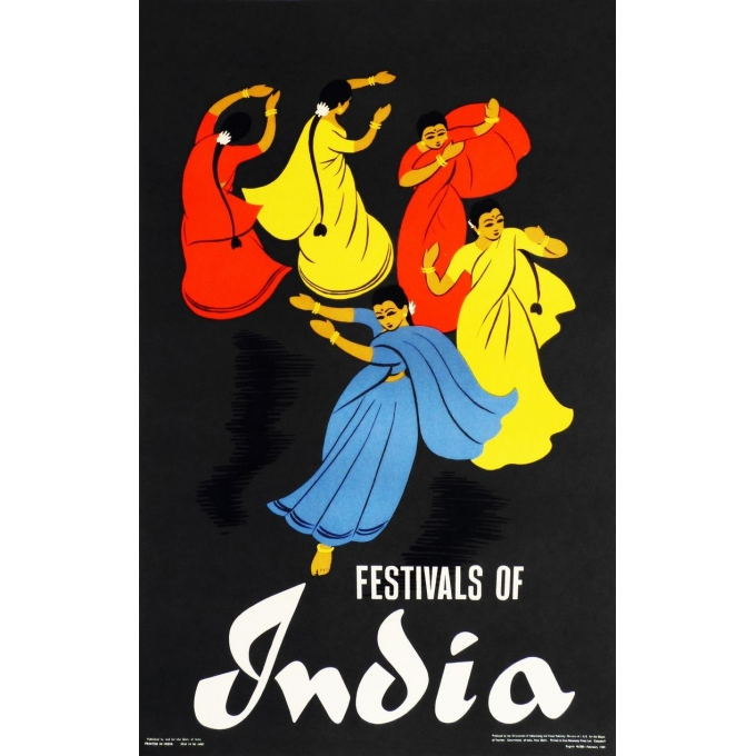 Affiche originale Festivals of India. Elbé Paris.