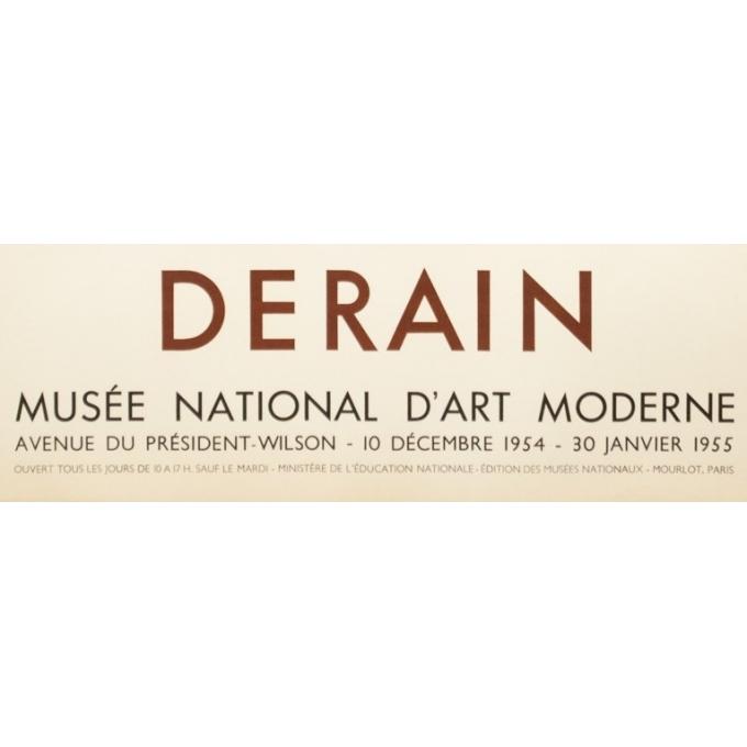 Affiche ancienne d'exposition - Derain - 1954 - Exposition Musée National D'Art Moderne- 74 par 47.5 cm - 3