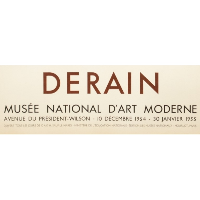 Vintage exhibition poster - Derain - 1954 - Exposition Musée National D'Art Moderne - 29.1 by 18.7 inches - 3