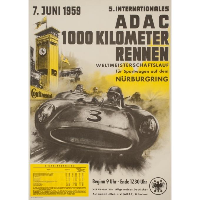 Affiche ancienne originale - 1959 - Nürburgring Adac 1000 Kilometer Rennen - 83.5 par 60 cm