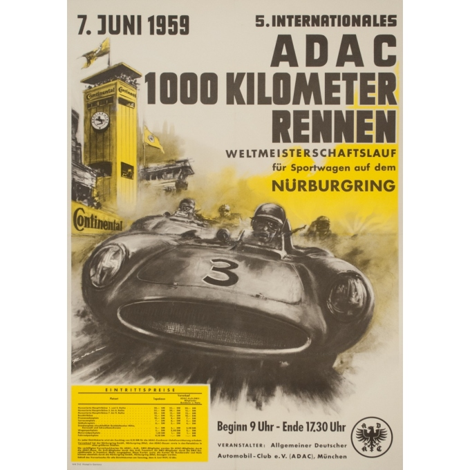Vintage poster - 1959 - Nürburgring Adac 1000 Kilometer Rennen - 32.9 by 23.6 inches