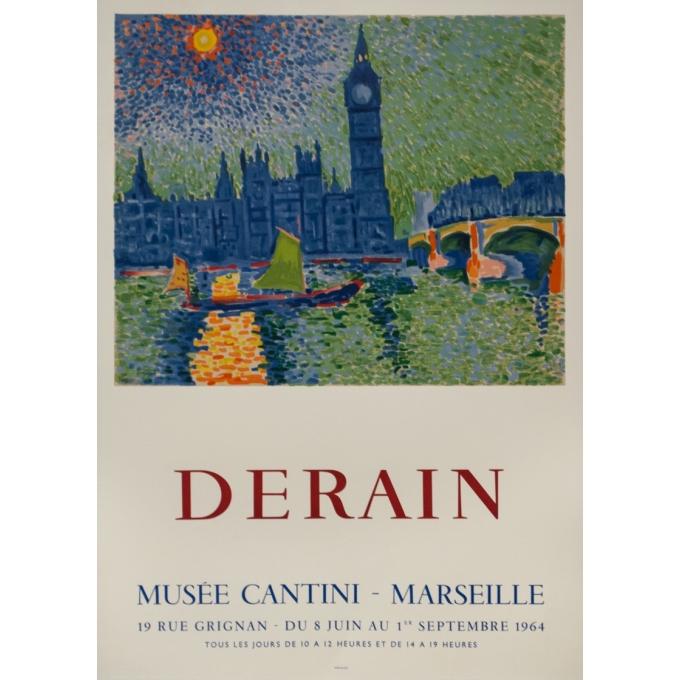 Affiche ancienne d'exposition - Derain - 1964 - Exposition Musée Cantini Marseille - 81 par 56.5 cm
