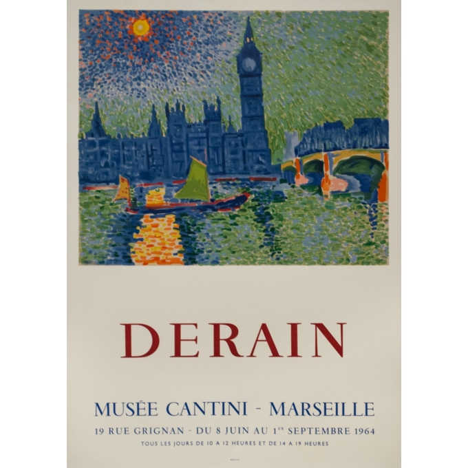 Vintage exhibition poster - Derain - 1964 - Exposition Musée Cantini Marseille - 31.9 by 22.2 inches