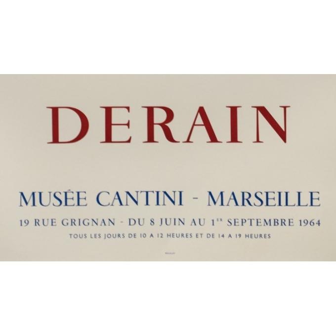 Affiche ancienne d'exposition - Derain - 1964 - Exposition Musée Cantini Marseille - 81 par 56.5 cm - 3