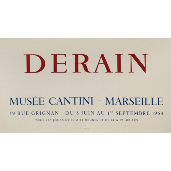 Vintage exhibition poster - Derain - 1964 - Exposition Musée Cantini Marseille - 31.9 by 22.2 inches - 3