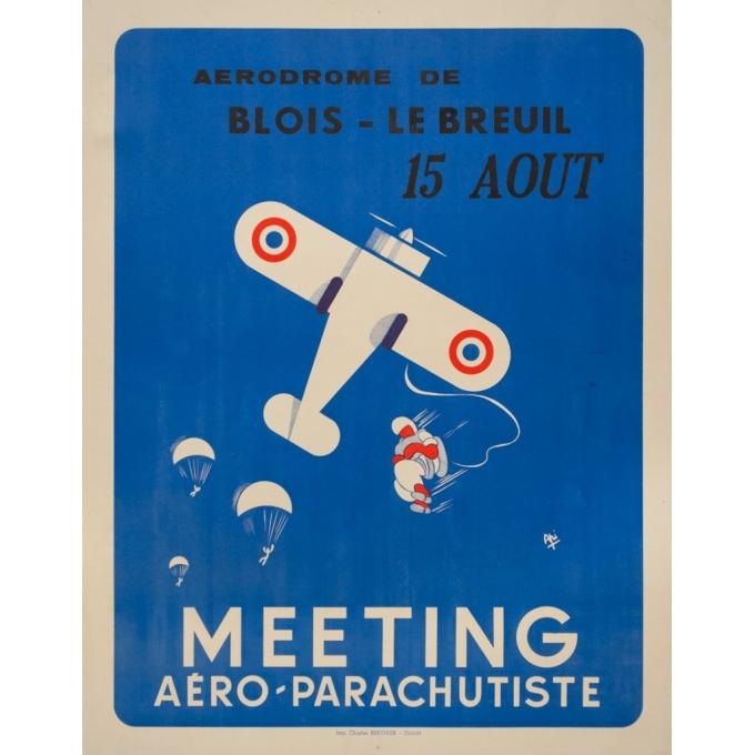Affiche ancienne originale - Api - 1982 - Meeting Aéro Parachutiste Blois - 74 par 58 cm