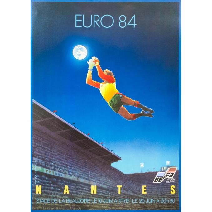Affiche ancienne de sport - Michel Dubré - 1984 - Euro 84 Nantes - 85 par 60.5 cm