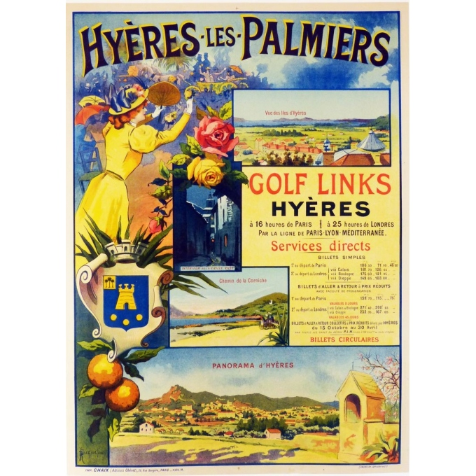Original french vintage poster of south eastern France : Hyères les Palmiers. Elbé Paris.