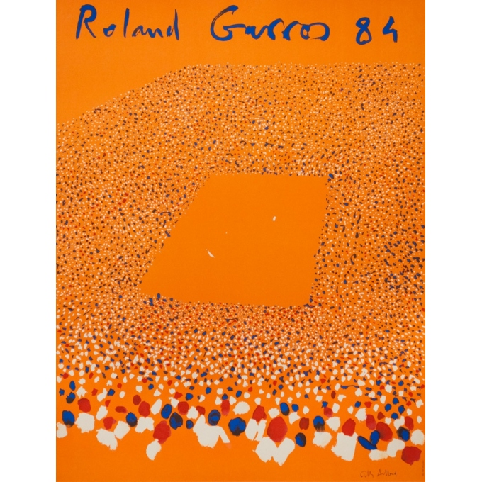 Vintage advertising poster - Gilles Aillaud - 1984 - Roland Garros 84 - 29.3 by 22.6 inches