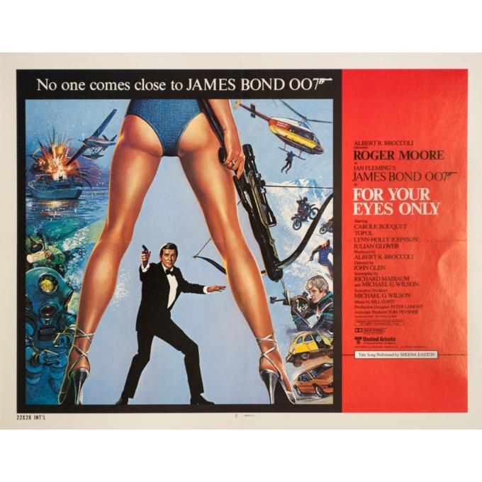 Affiche ancienne de cinéma - 1981 - For Your Eyes Only James Bond 007 - 71.5 par 56 cm