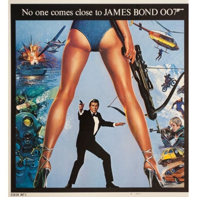 Original vintage movie poster - 1981 - For Your Eyes Only James Bond 007 - 28.2 by 22 inches - 2