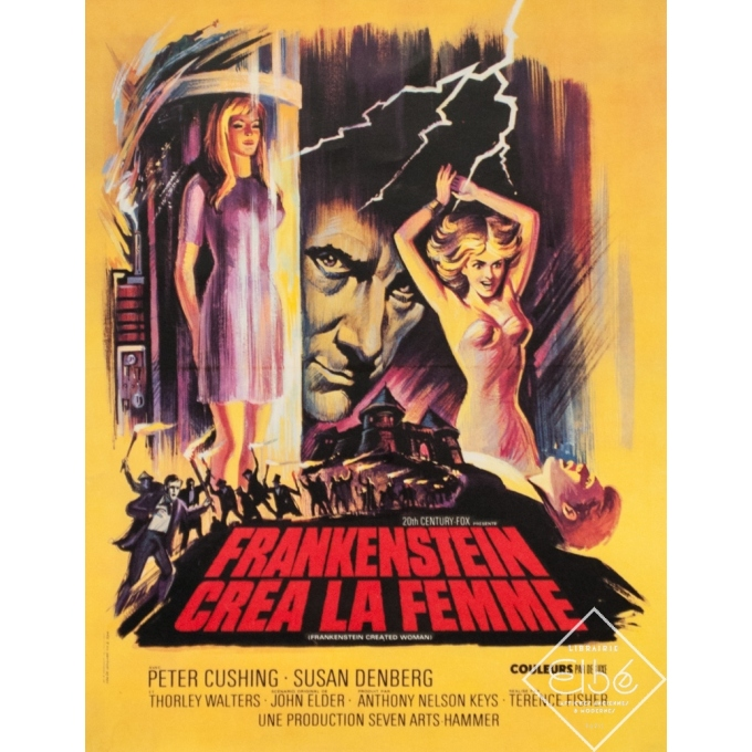 Affiche ancienne de cinéma - 1967 - Frankenstein Crea La Femme - 53 par 41 cm