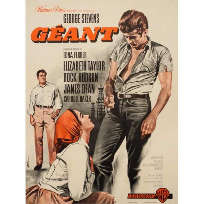 Original vintage movie poster - Jean Mascii - 1956 - Geant Giant James Dean - 29.9 by 22.8 inches