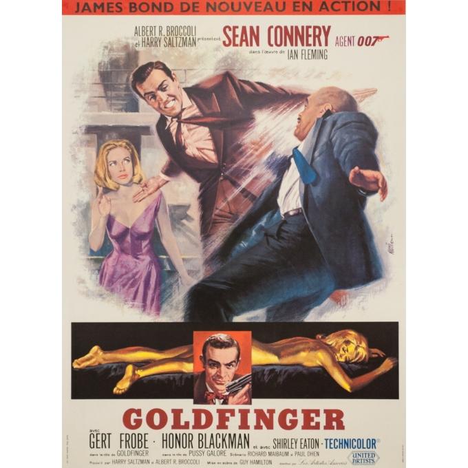 Affiche ancienne de cinéma - Goldfinger 007 James Bond Sean Connery France Petit Format - 58 par 42 cm
