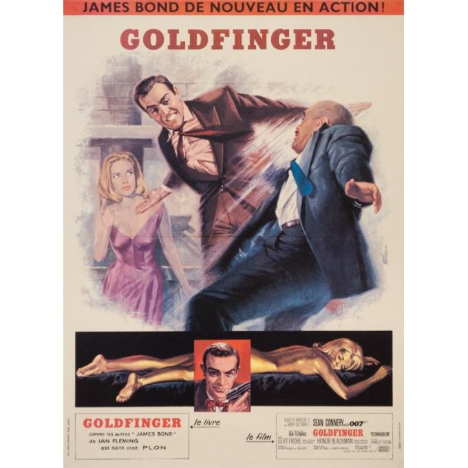 Affiche ancienne de cinéma - Jean masci - 1964 - Goldfinger James Bond 007  - 77.5 par 58 cm