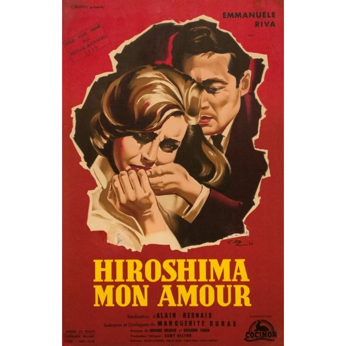 Affiche ancienne de cinéma - cbz - 1959 - Hiroshima Mon Amour - 60 par 39 cm
