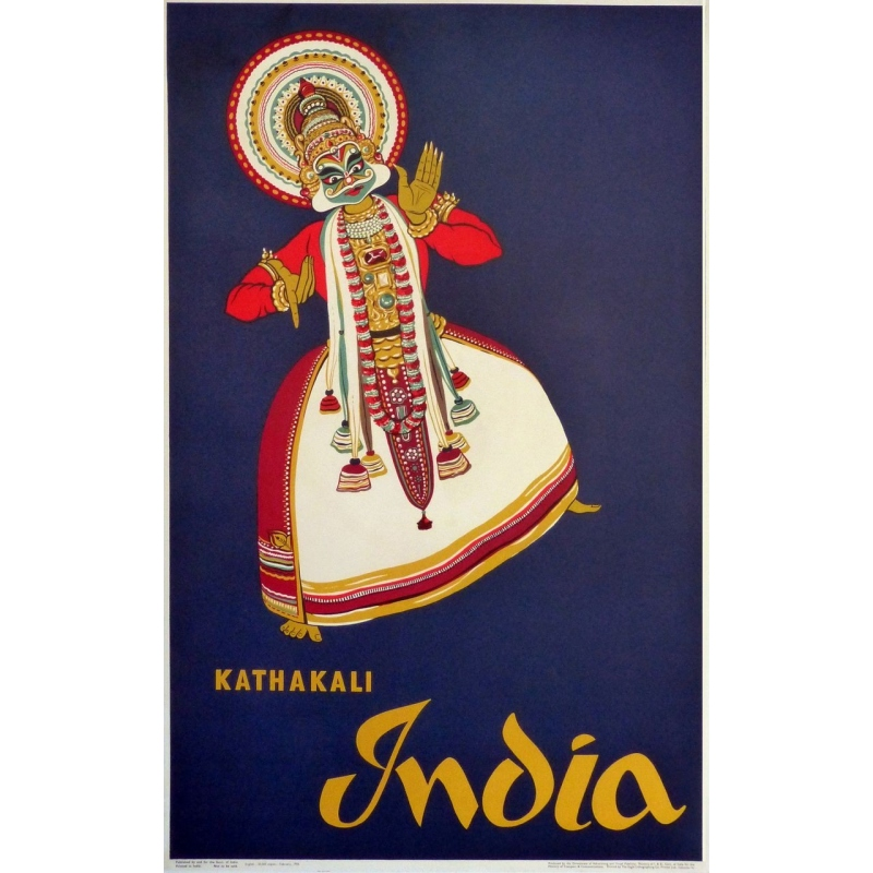 Original vintage poster Kathakali India. Elbé Paris.