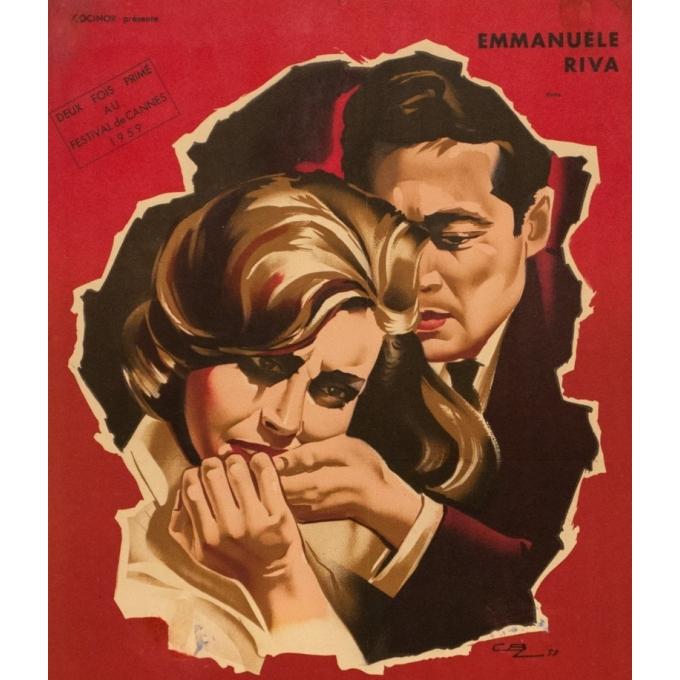 Affiche ancienne de cinéma - cbz - 1959 - Hiroshima Mon Amour - 60 par 39 cm - 2