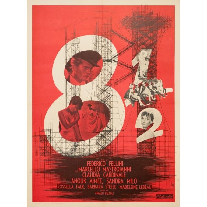 Affiche ancienne de cinéma - 1963 - Huit Et Demi Frederico Fellini Marcello Mastroianni - 79 par 59 cm