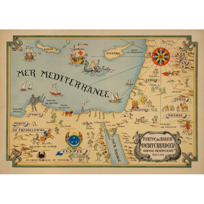 Affiche ancienne de voyage - Carte Partie Du Bassin Méditérraneen Côtes Orientales - 64 par 47 cm