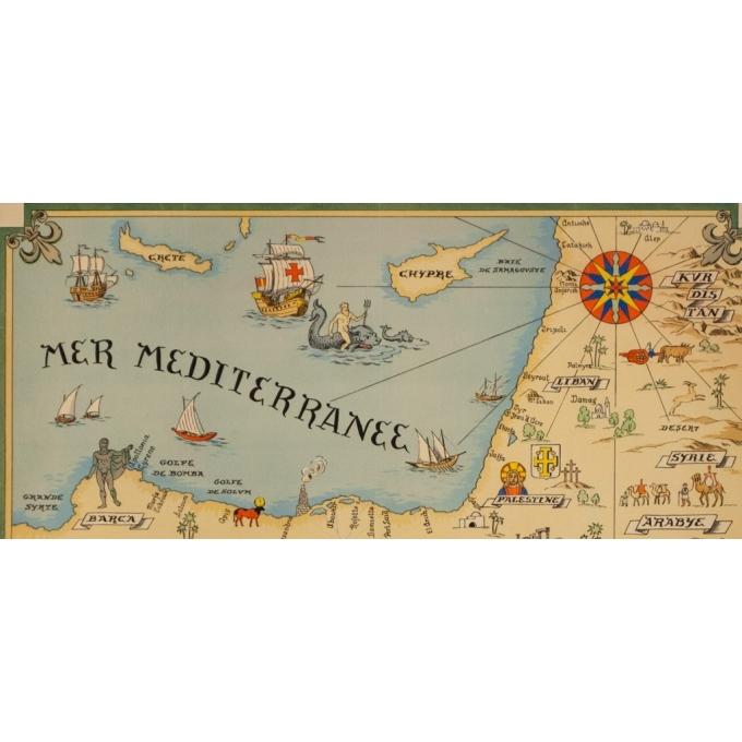 Affiche ancienne de voyage - Carte Partie Du Bassin Méditérraneen Côtes Orientales - 64 par 47 cm - 2