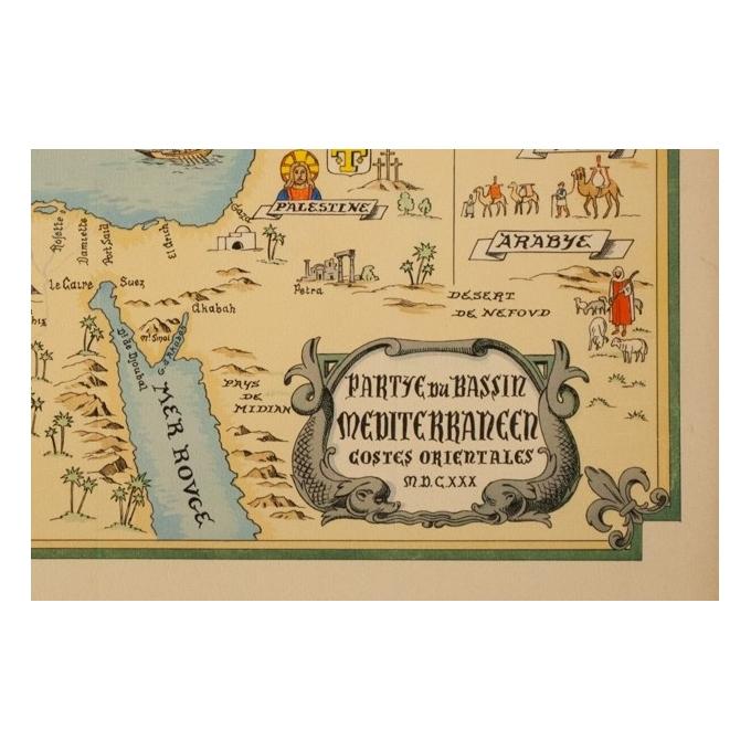Affiche ancienne de voyage - Carte Partie Du Bassin Méditérraneen Côtes Orientales - 64 par 47 cm - 3