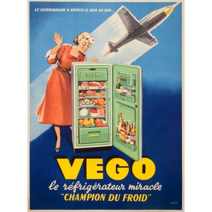 Affiche ancienne de publicité - Jacques Branger - Circa 1960 - Vego Le Réfrigirateur Miracle - 80 par 59 cm