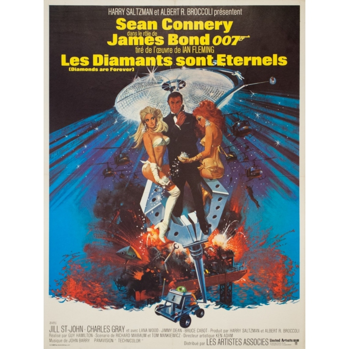 Original vintage movie poster - 1971 - James Bond Les Diamants Sont Eternels 007 - 31.5 by 23.6 inches