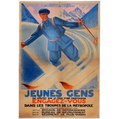 Original french vintage poster of the army, Young people get involved. Elbé Paris.