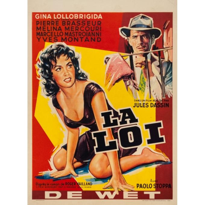 Original vintage movie poster - 1959 - La Loi Petit Format Jules Dassin Gina Lollobrigida Belge - 19.7 by 14.4 inches