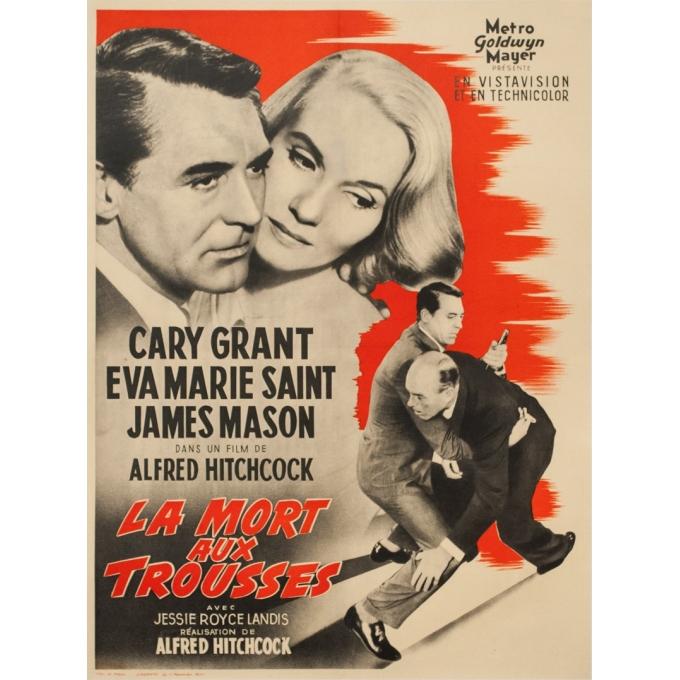 Original vintage movie poster - 1959 - La Mort Aux Trousses Alfred Hitchcock France - 30.3 by 22.6 inches