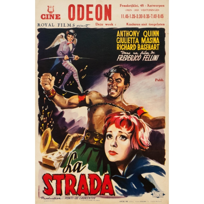 Original vintage movie poster - 1954 - La Strada Anthony Queen Frederico Fellini Small Size - 21.6 by 13.6 inches