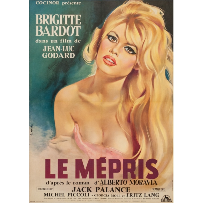 Original vintage movie poster - G. Allard - 1963 - Le Mepris Bardot Godard France - 31.5 by 22.4 inches