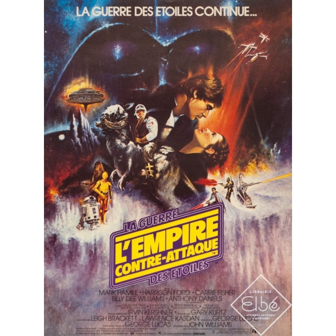 Original vintage movie poster - 1980 - L'Empire Contre Attaque La Guerre Des Etoiles Star Wars Petit Format - 20.5 by 15 inches