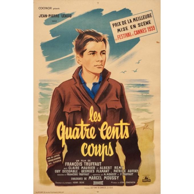 Original vintage movie poster - Grinson - 1959 - Les Quatre Cents Coups François Truffaut - 23.6 by 15.8 inches