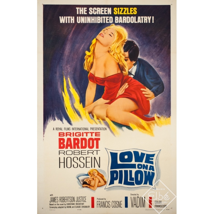 Original vintage movie poster - 1962 - Love On A Pillow Bardot Hossein Vadimone sheet - 41.3 by 24.8 inches
