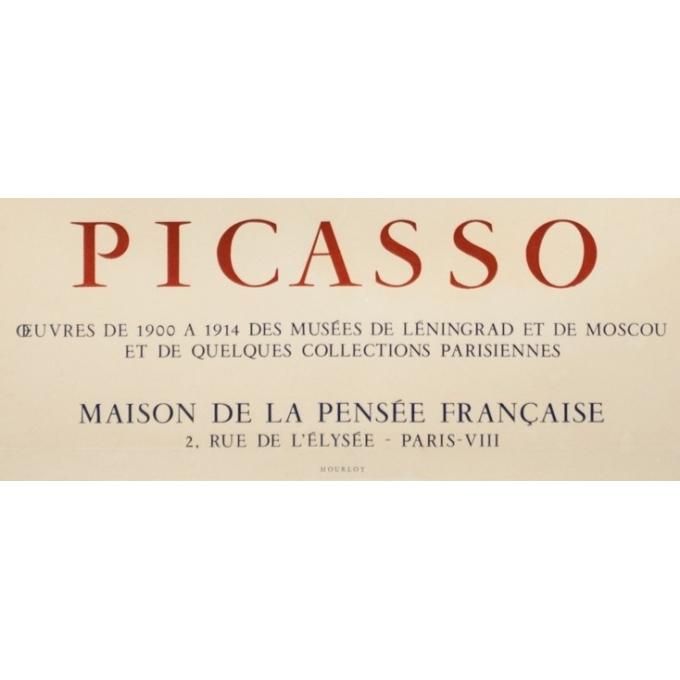 Vintage exhibition poster - Picasso - 1954 - Maison De La Pensée Française - 28 by 18.9 inches - 3