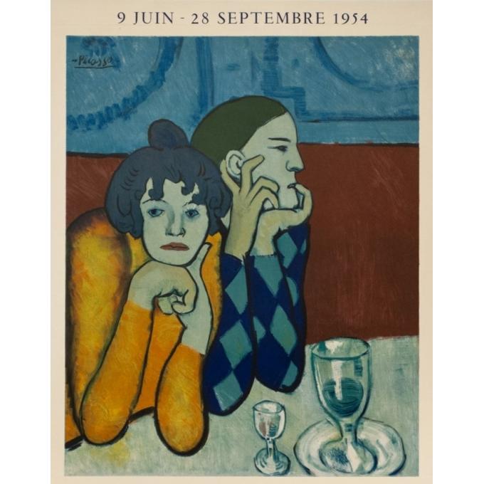 Vintage exhibition poster - Picasso - 1954 - Maison De La Pensée Française - 28 by 18.9 inches - 2