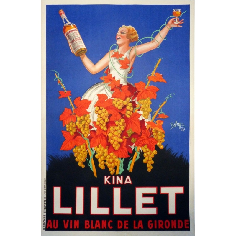 Original french poster Kina Lillet french white wine. Elbé Paris.