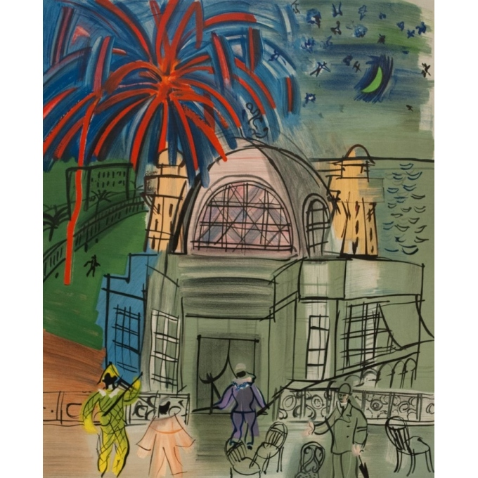 Vintage exhibition poster - Raoul Duffy - 1954 - Exposition Hommage Ville De Nice Feu D'Artifice - 27.6 by 19.3 inches - 2