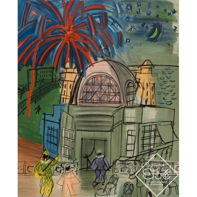 Vintage exhibition poster - Raoul Dufy - 1954 - Exposition Hommage Ville De Nice Feu D'Artifice - 27.6 by 19.3 inches - 2