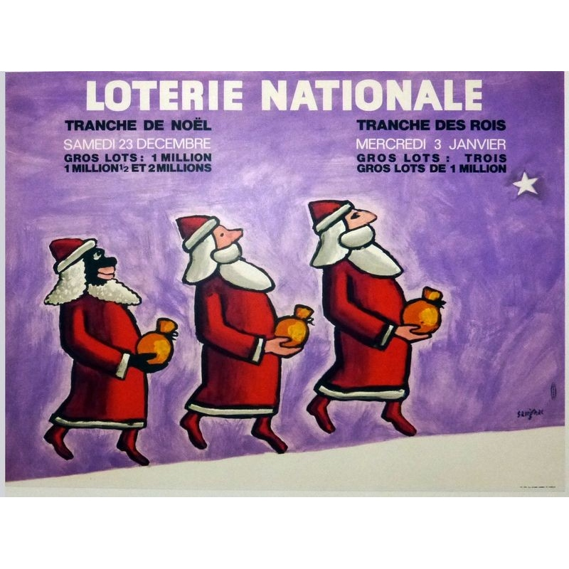 Original french vintage poster National lottery signed by Savignac. Elbé Paris.