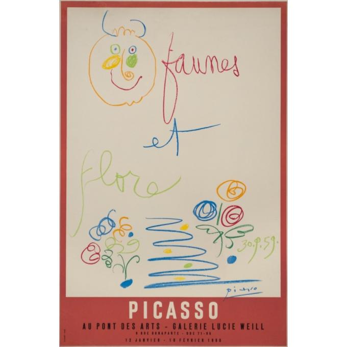 Vintage exhibition poster - Picasso - 1960 - Faunes et Flore Galerie Lucie Weill Au Pont Des Arts - 29.5 by 19.7 inches
