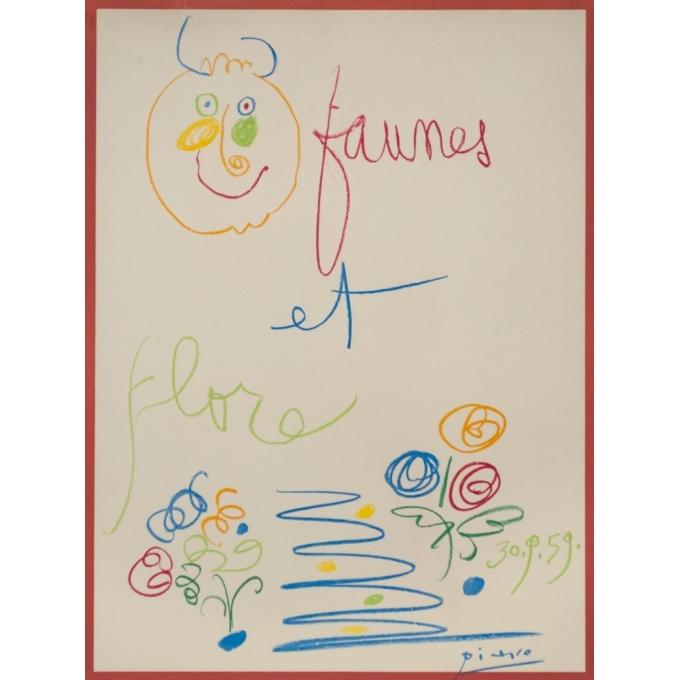 Vintage exhibition poster - Picasso - 1960 - Faunes et Flore Galerie Lucie Weill Au Pont Des Arts - 29.5 by 19.7 inches - 2