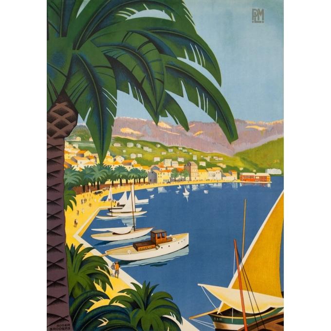 Affiche ancienne de voyage - Roger Broders - 1932 - Bandol Côte D'Azur Varoise - 99.5 par 62 cm - 2